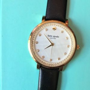 Kate Spade Womens Monterey Blk Leather Strap Watch